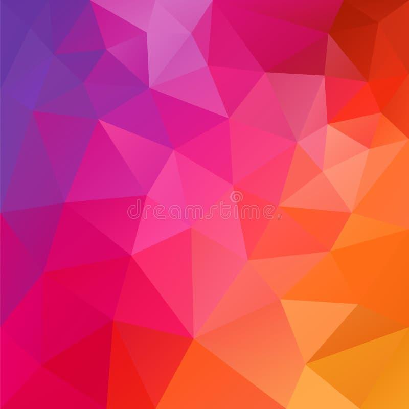 Vector il fondo irregolare del poligono con un modello del triangolo nel colore caldo di spettro - arancio, rosso, rosa, nel mage royalty illustrazione gratis
