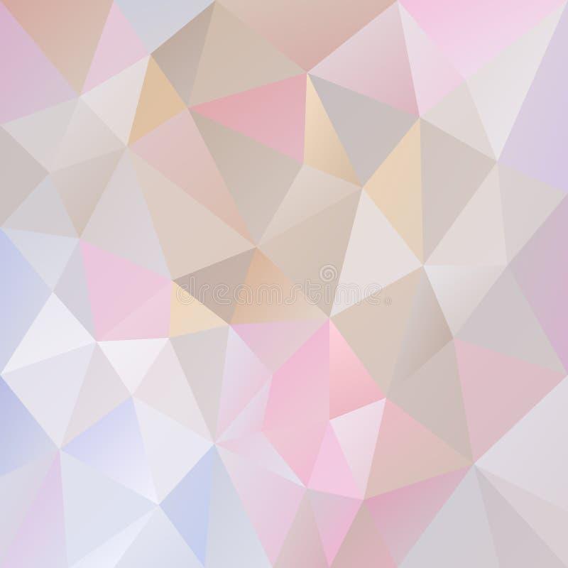 Vector il fondo irregolare del poligono con un modello del triangolo nel colore pastello leggero - rosa, porpora, blu, beige, gri illustrazione di stock
