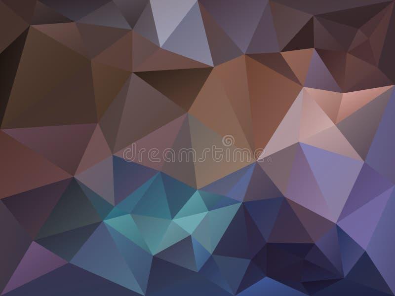 Vector il fondo irregolare del poligono con un modello del triangolo nel colore marrone, porpora e blu scuro royalty illustrazione gratis