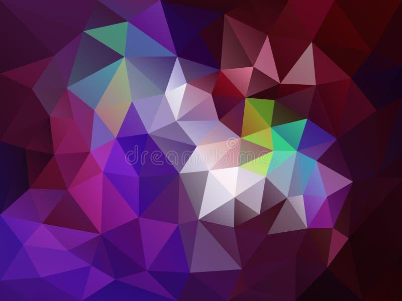 Vector il fondo irregolare del poligono con un modello del triangolo in rosso scuro, nella porpora e nel colore di Borgogna royalty illustrazione gratis