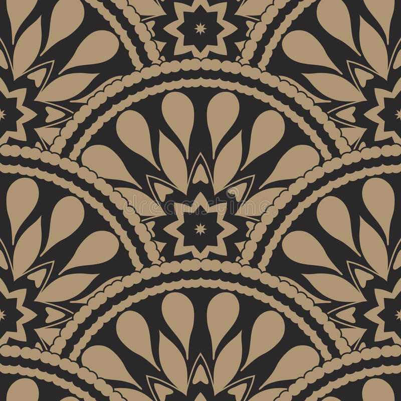 Vector il fondo ondulato geometrico senza cuciture astratto dalle piume e dalle insegne decorate a forma di ventaglio nere dorate royalty illustrazione gratis