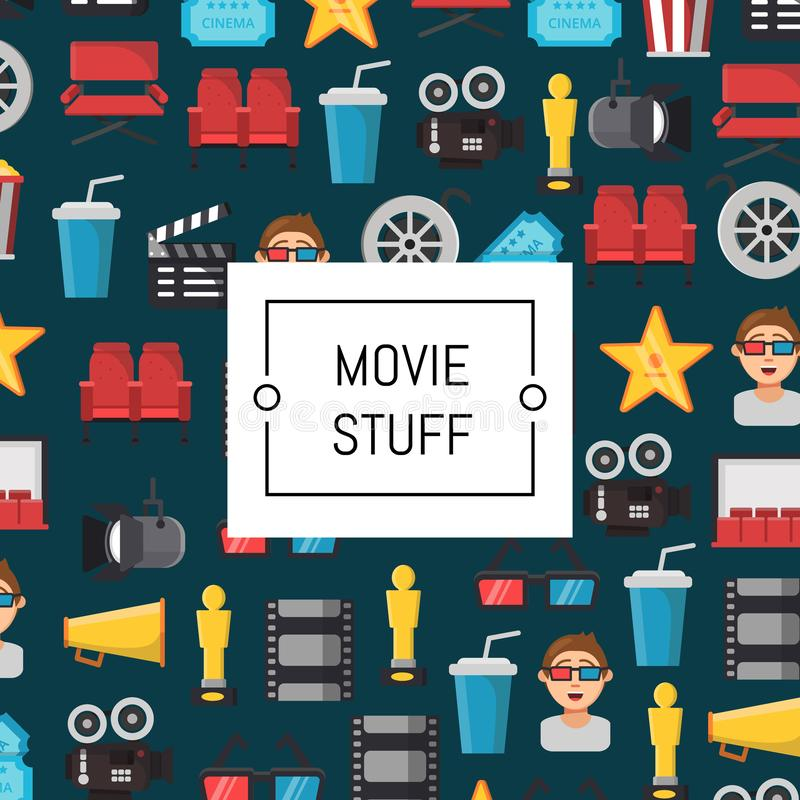 Vector il fondo piano delle icone del cinema con il posto per l'illustrazione del testo royalty illustrazione gratis