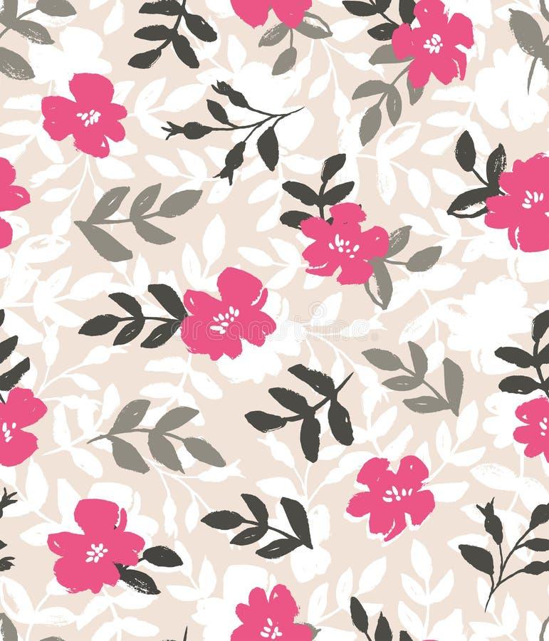 Vector il fondo senza cuciture con le rose selvatiche, stile d'annata illustrazione vettoriale