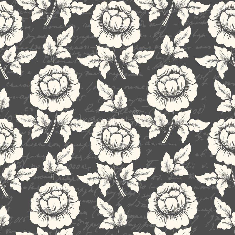 Vector il fondo senza cuciture del modello del fiore con testo antico Struttura elegante per gli ambiti di provenienza illustrazione di stock