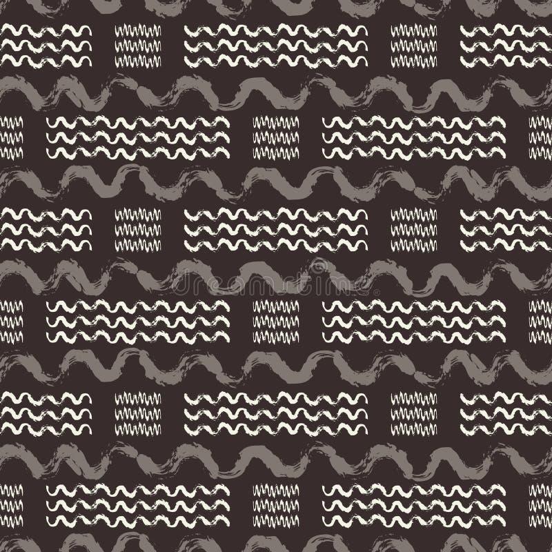 Vector il fondo senza cuciture del modello di ripetizione dell'onda disegnata a mano marrone e beige Perfezioni per il tessuto, l illustrazione vettoriale