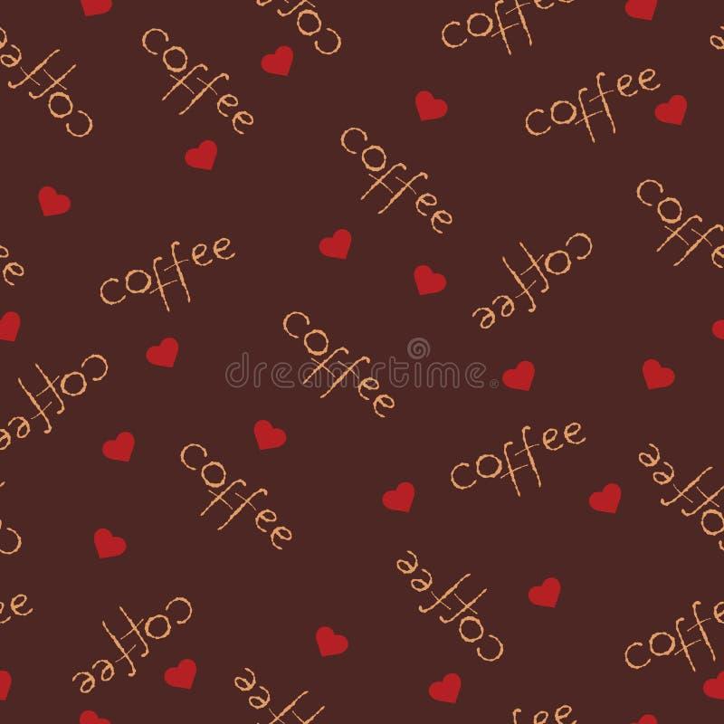 Vector il fondo senza cuciture dell'illustrazione con il caffè ed i cuori dell'iscrizione illustrazione vettoriale