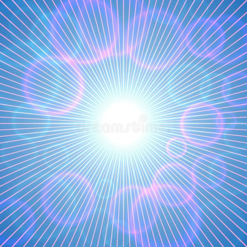 Vector il fondo soleggiato astratto del cielo blu con le bolle rosa illustrazione vettoriale