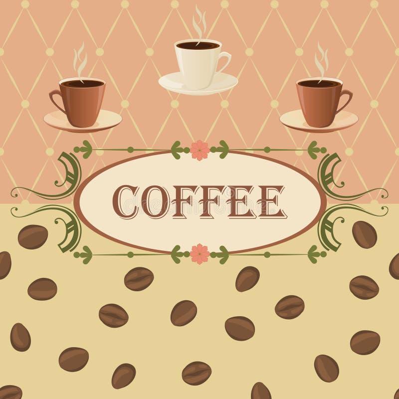 Vector il fondo su un tema del caffè nello stile d'annata royalty illustrazione gratis
