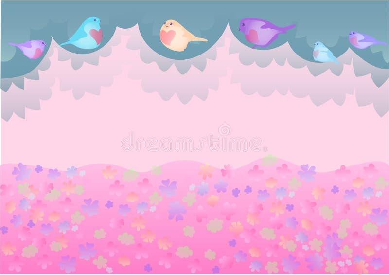 Vector il fondo sveglio con gli uccelli ed il prato di fioritura fotografia stock libera da diritti