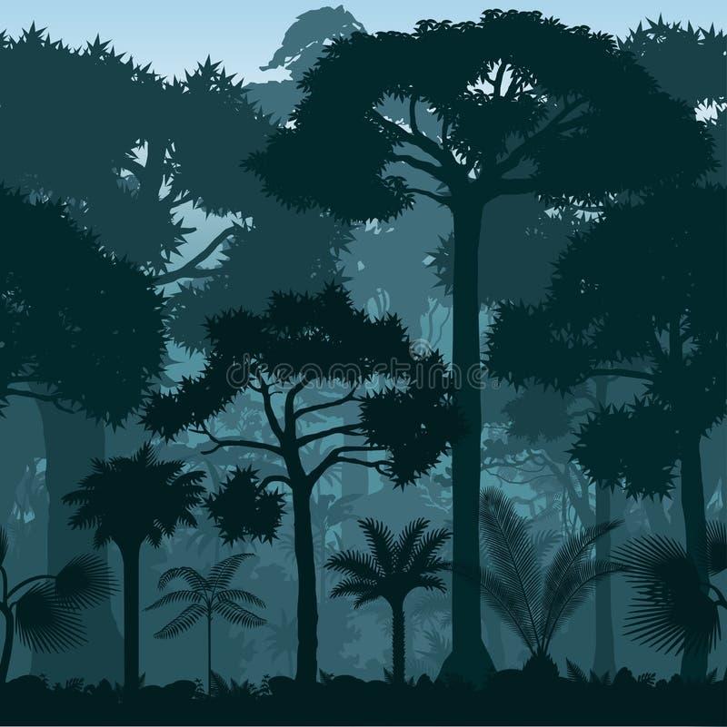 Vector il fondo tropicale blu senza cuciture orizzontale della giungla della foresta pluviale royalty illustrazione gratis