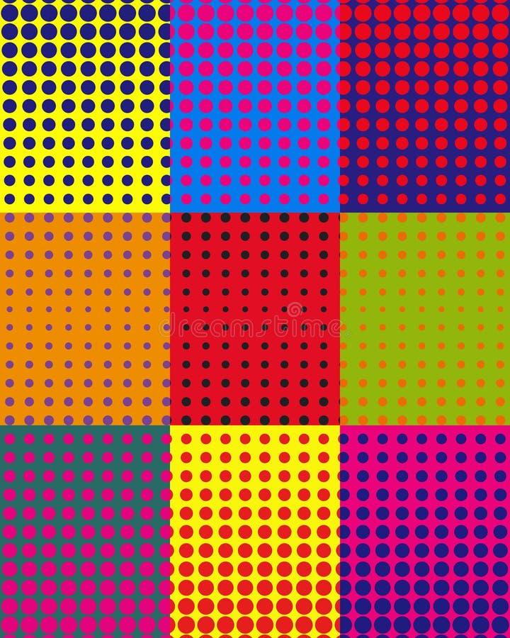 Vector il fondo variopinto con i punti nello stile di Pop art illustrazione di stock