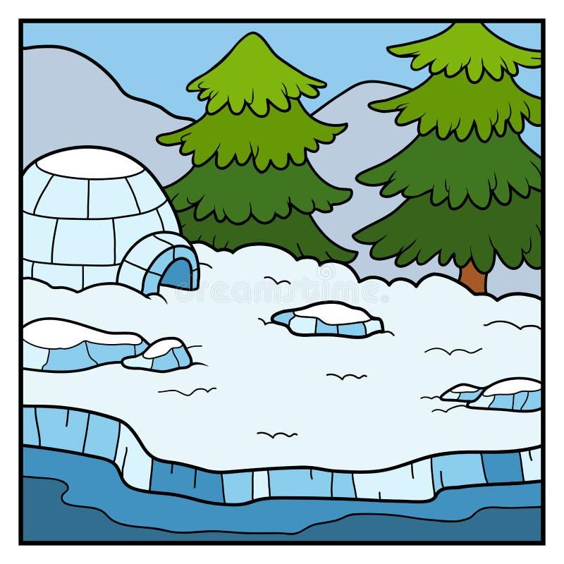 Vector il fondo, Yurt e la foresta dell'inverno di colore in neve illustrazione di stock