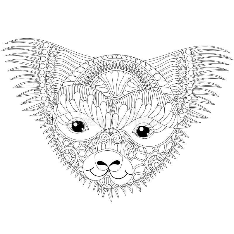 Vector il fronte amichevole felice della koala dello zentangle per anti coloritura adulta di sforzo illustrazione di stock