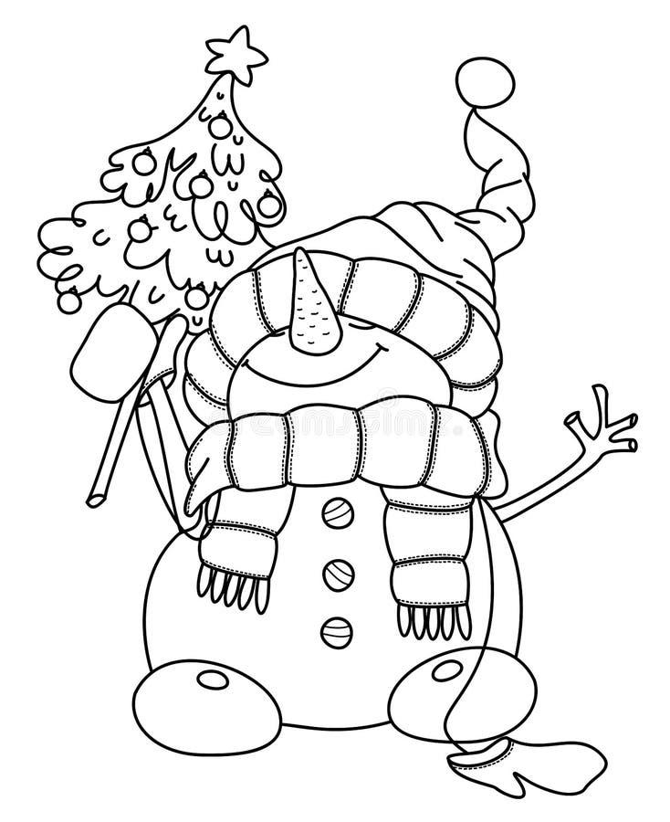 Vector il fumetto felice del pupazzo di neve, tenente l'albero di Natale illustrazione vettoriale