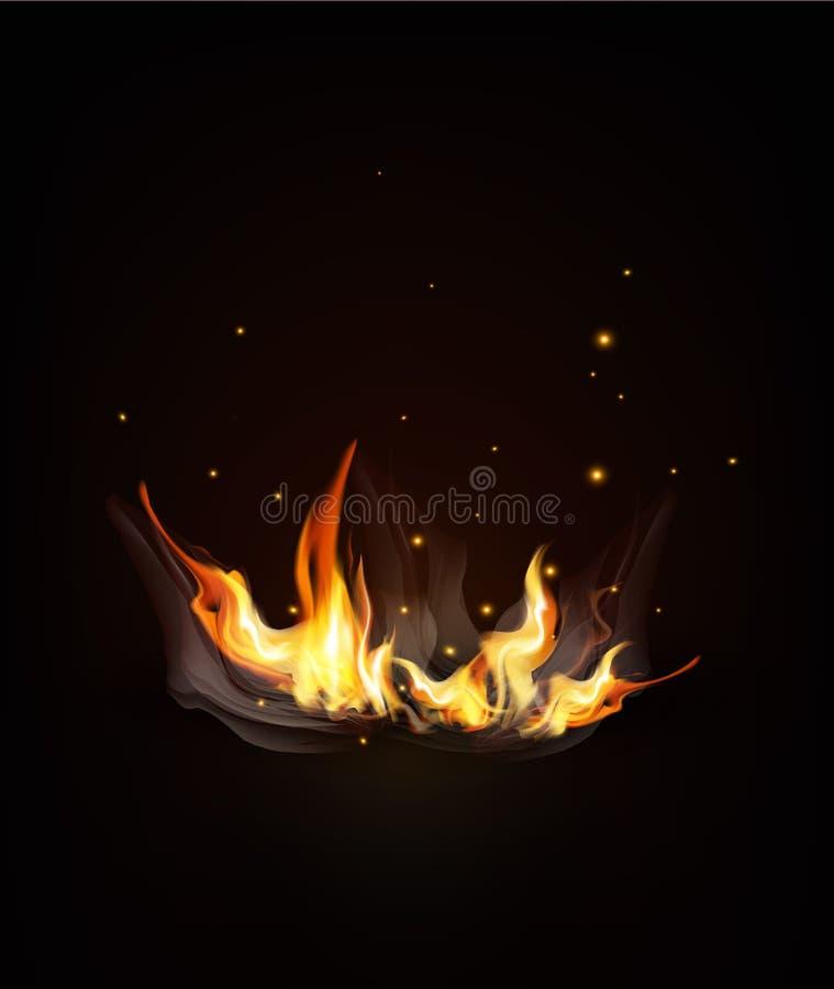 Vector il fuoco bruciante su un fondo scuro di notte illustrazione di stock