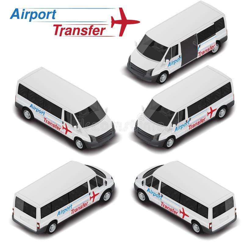 Vector il furgone isometrico del passanger di alta qualità per il trasferimento di aeroporto Icona di trasporto illustrazione vettoriale