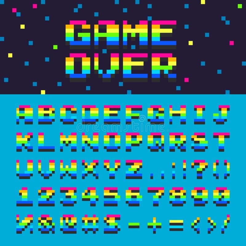 Vector il gioco grafico digitale di numeri di fonte di oldschool dell'arcobaleno dello spazio dell'alfabeto 3d sopra l'illustrazi illustrazione vettoriale