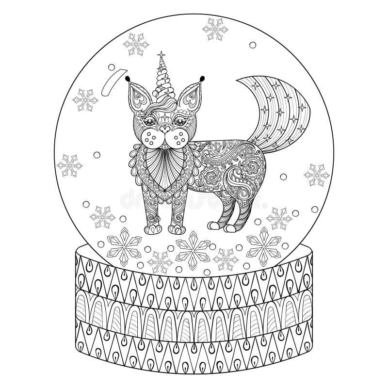 Vector il globo della neve dello zentangle con il gatto maic come l'unicorno illustrazione di stock