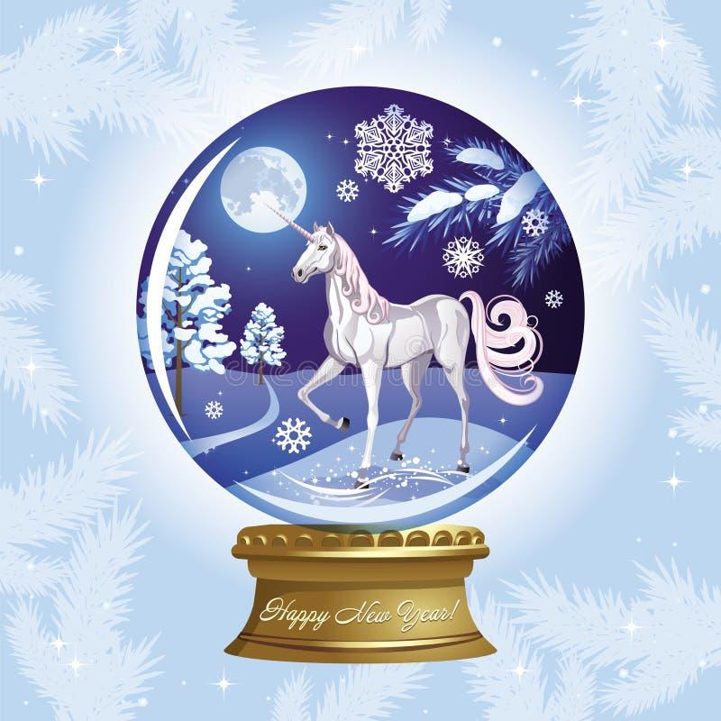 Vector il globo della neve durante il nuovo anno con un unicorno royalty illustrazione gratis