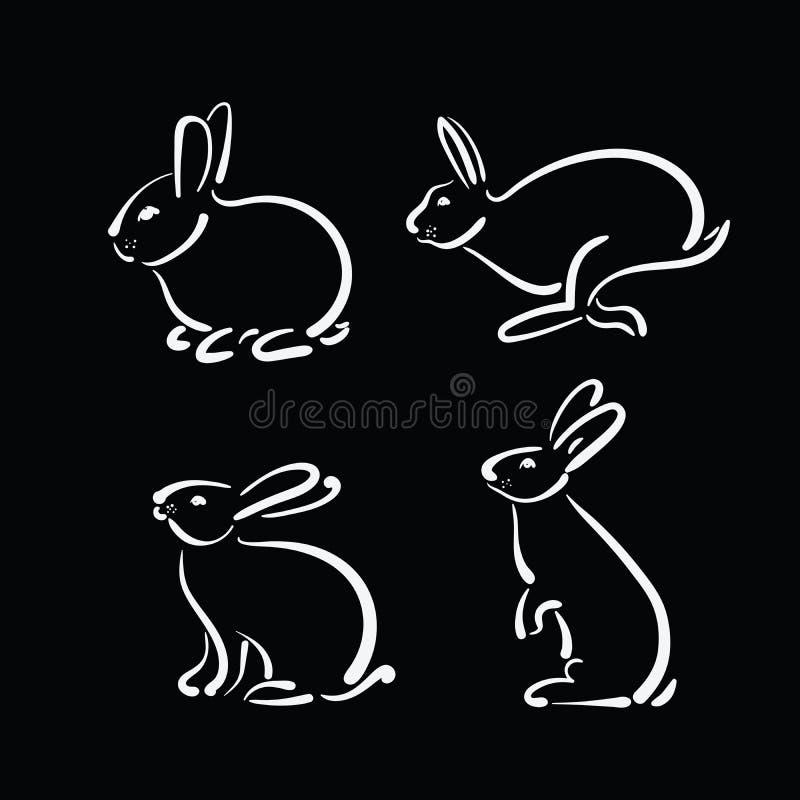 Vector il gruppo di coniglio disegnato a mano su fondo nero illustrazione di stock