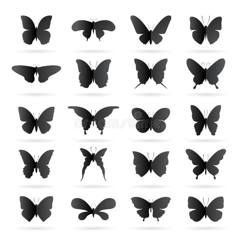 Vector il gruppo di farfalla nera su fondo bianco Farfalla illustrazione vettoriale