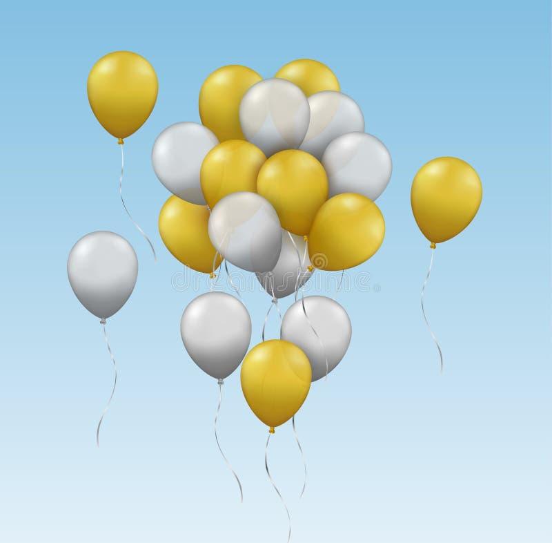 Vector il gruppo realistico di oro e di palloni d'argento che volano nel royalty illustrazione gratis