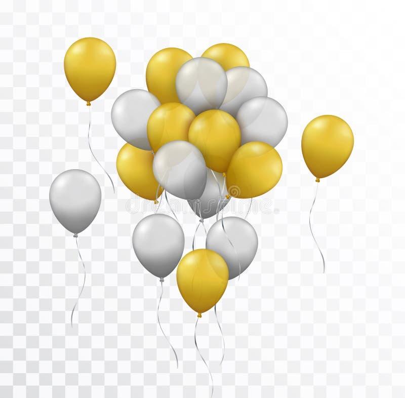 Vector il gruppo realistico di oro e di palloni d'argento sulla t illustrazione vettoriale