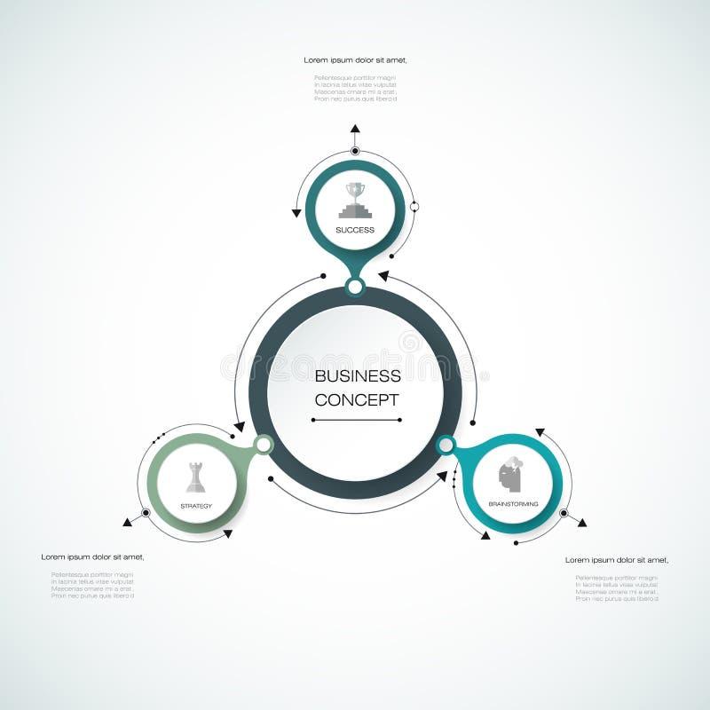 Vector il infographics, modello di carta del diagramma del ciclo 3D illustrazione di stock