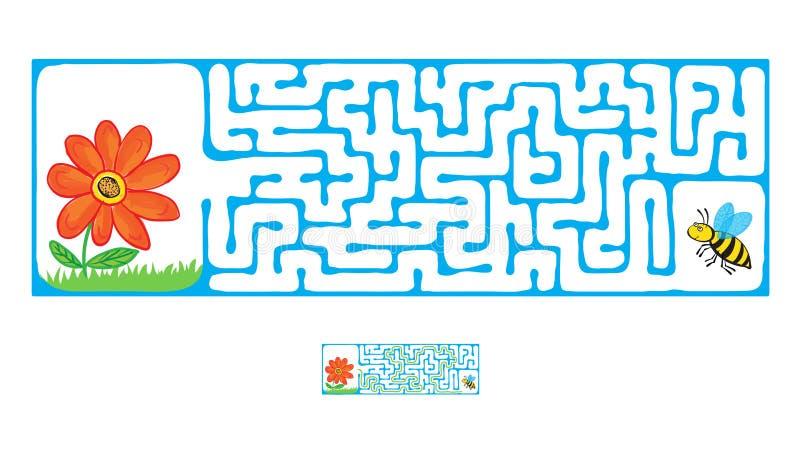 Vector il labirinto, il labirinto con l'ape di volo ed il fiore illustrazione vettoriale