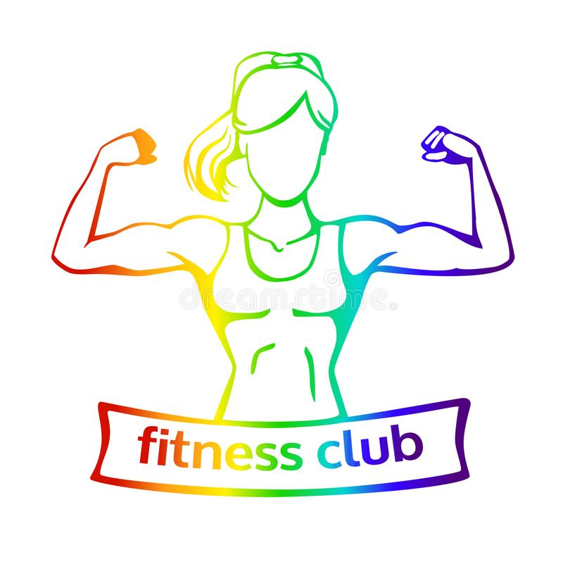 Vector il logo colourful del club di forma fisica con la siluetta femminile royalty illustrazione gratis