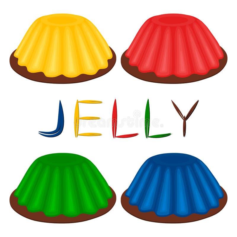 Vector il logo dell'illustrazione per la varia gelatina del dessert dell'insieme royalty illustrazione gratis