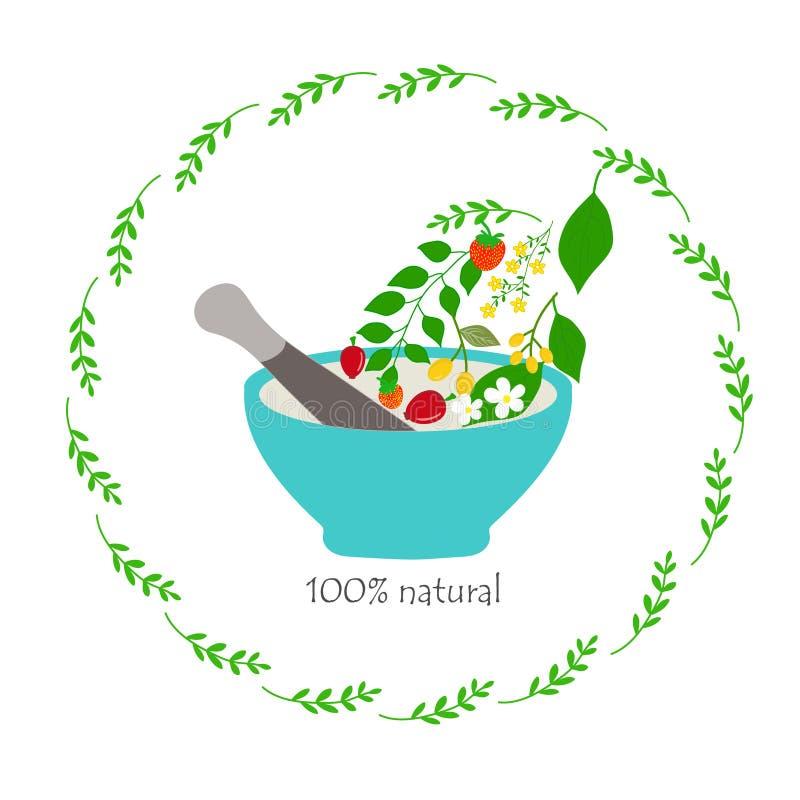 Vector il logo disegnato a mano nel telaio botanico per i cosmetici naturali, la medicina, l'aromaterapia, il mortaio, il pestell illustrazione di stock