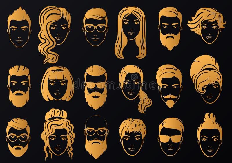 Vector il logo dorato degli uomini di lusso con le barbe alla moda e delle donne royalty illustrazione gratis