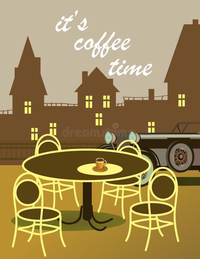 Vector il manifesto con la sera della molla nel parco Carta di tipografia, immagine con iscrizione tempo del caffè del ` s illustrazione di stock