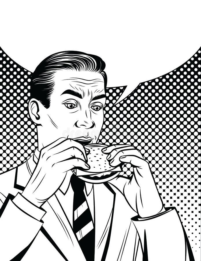 Vector il manifesto d'annata di stile comico in bianco e nero di un uomo d'affari affamato che mangia un cheeseburger illustrazione di stock