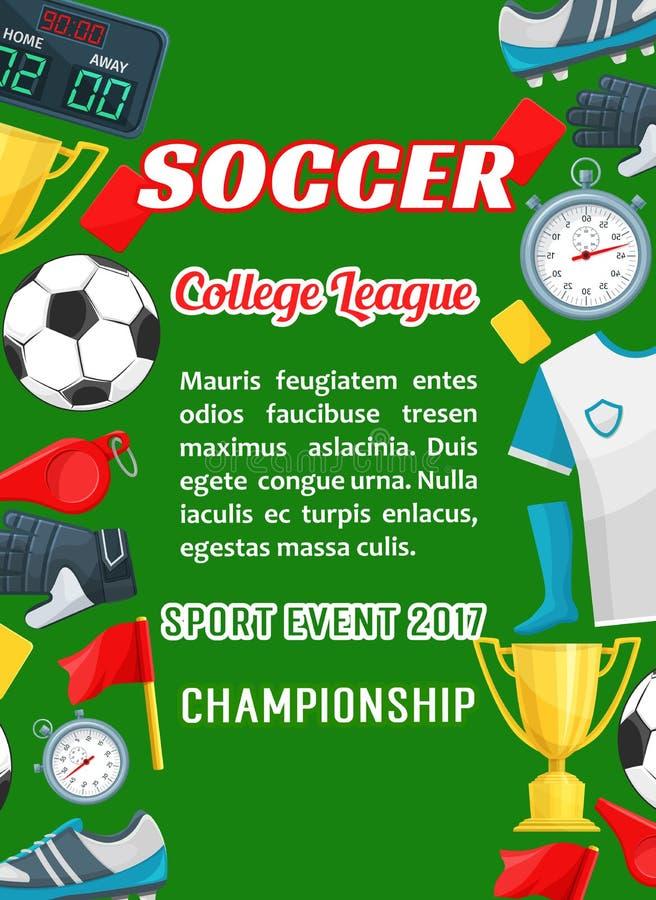 Vector il manifesto per il gioco della tazza della lega dell'istituto universitario di calcio illustrazione vettoriale