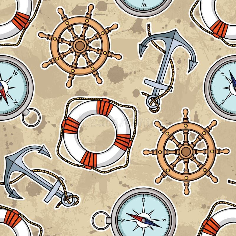 Vector il modello con le ancore, i lifebuoies, le ruote della nave, bussole illustrazione vettoriale