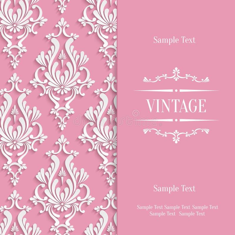 Vector il modello d'annata rosa della carta dell'invito 3d con il modello floreale del damasco royalty illustrazione gratis
