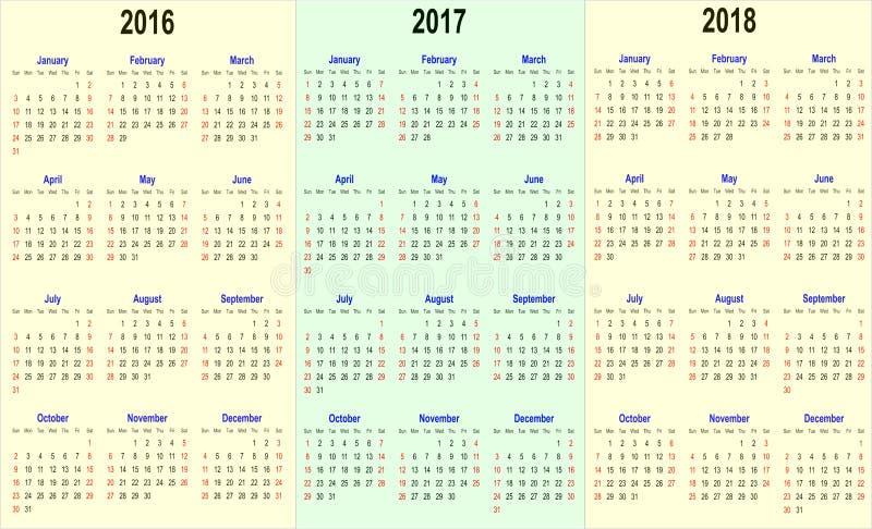 Vector il modello del calendario - 2016, 2017, 2018 illustrazione di stock
