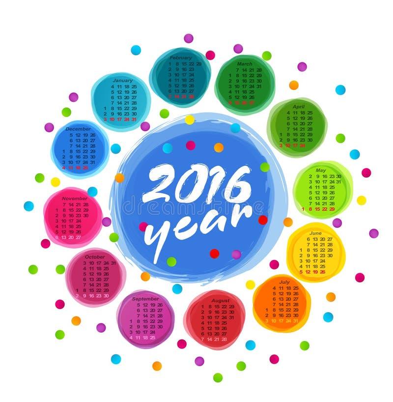 Vector il modello del calendario con i cerchi variopinti per 2016 illustrazione di stock