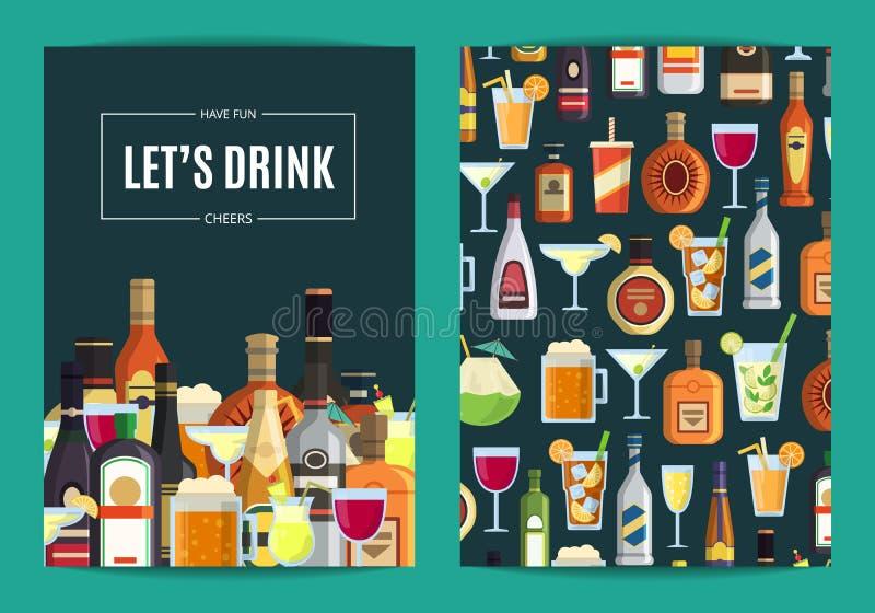 Vector il modello della carta, dell'aletta di filatoio o dell'opuscolo per la barra, il pub o il negozio di alcolici con le bevan illustrazione di stock