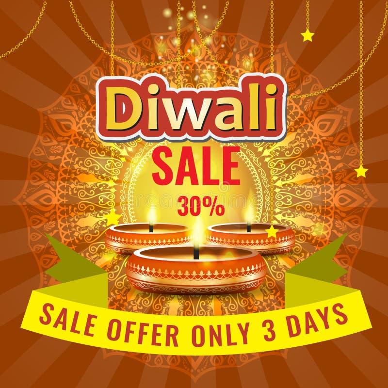 Vector il modello della disposizione del manifesto o dell'aletta di filatoio o della pubblicità di vendita di festival di Diwali illustrazione di stock