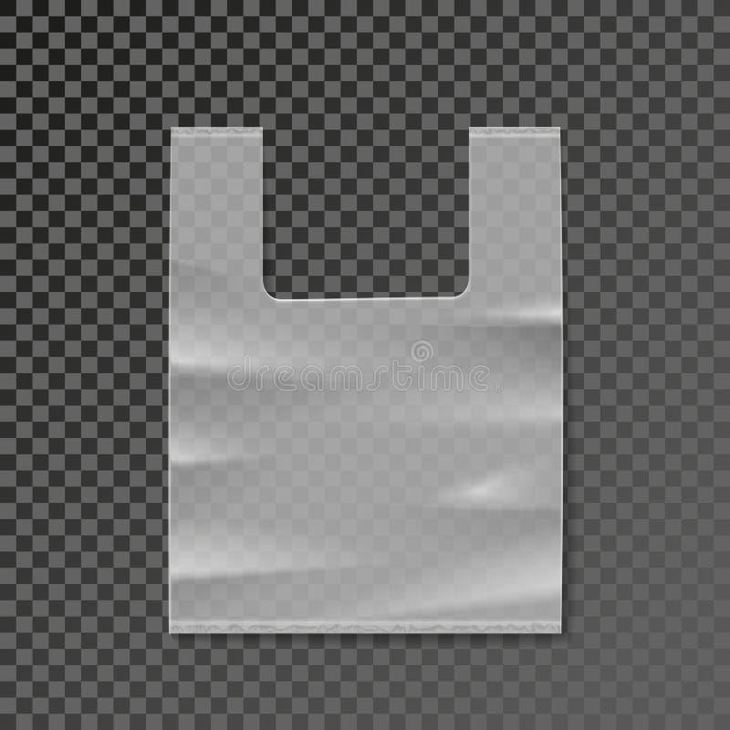 Vector il modello dello spazio in bianco del sacchetto di plastica su fondo trasparente illustrazione di stock