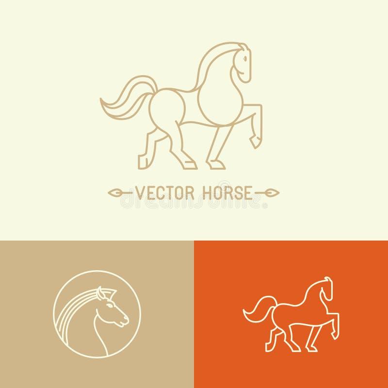 Vector il modello di logo del cavallo nello stile lineare d'avanguardia illustrazione di stock