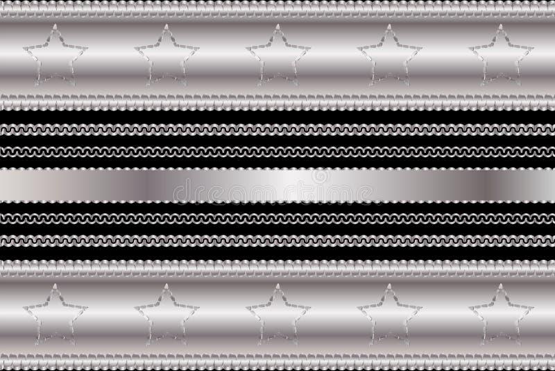 Vector il modello di placcatura di cromo e lo stile del casinò degli elementi della struttura con le stelle ed i turbinii d'annat royalty illustrazione gratis