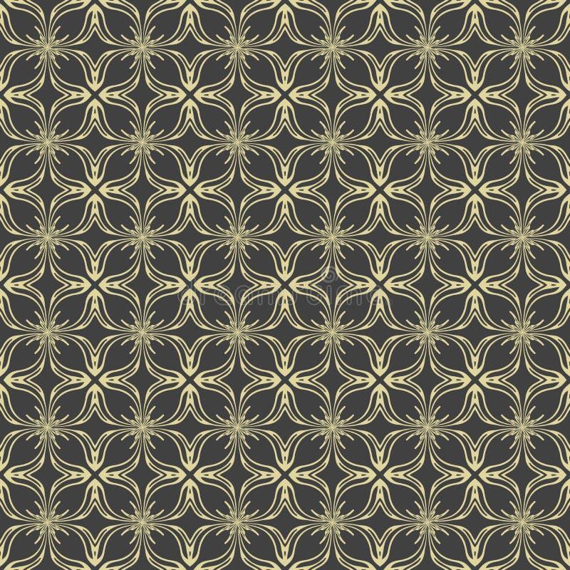 Vector il modello elegante del damasco senza cuciture su fondo nero illustrazione di stock