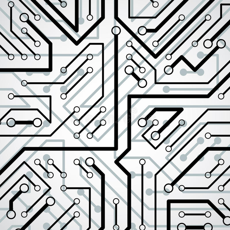Vector il modello elettronico con lo schema del microchip, il circuito h illustrazione di stock