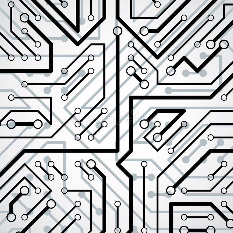 Vector il modello elettronico con lo schema del microchip, il circuito h illustrazione vettoriale