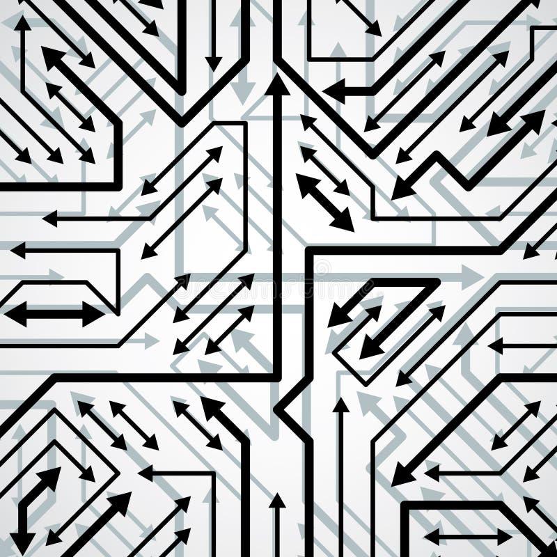 Vector il modello elettronico con lo schema del microchip, il circuito h royalty illustrazione gratis