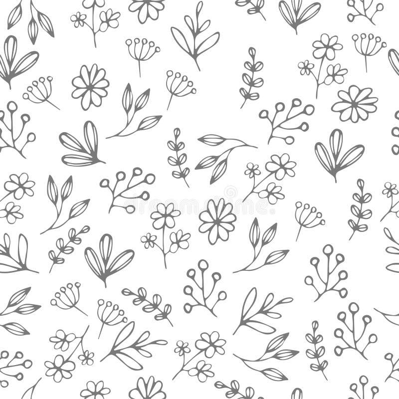 Vector il modello floreale nello stile di scarabocchio con i fiori e le foglie fotografia stock libera da diritti